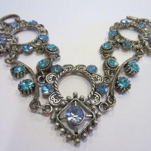 Mid Cent Blue Crystals White Metal Link  Bracelet